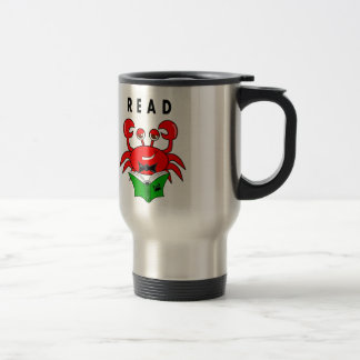 Cartoon Red Crab Reading a Book ABout Crabs Stainless Steel Travel Mug