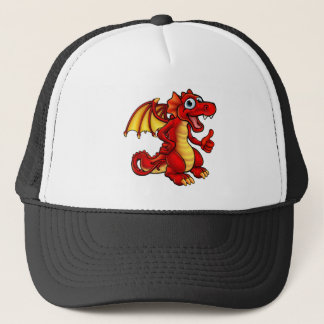 Cartoon Red Dragon Trucker Hat