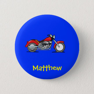 Cartoon Red MotorCycle - MotorBike 6 Cm Round Badge