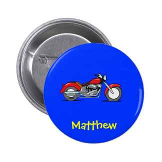 Cartoon Red MotorCycle - MotorBike 6 Cm Round Badge
