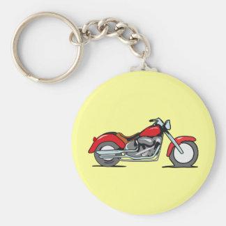 Cartoon Red MotorCycle - MotorBike Basic Round Button Key Ring