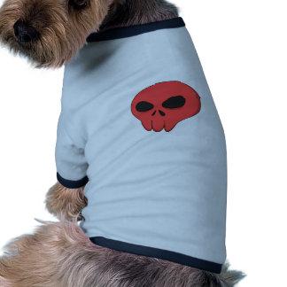 cartoon red skull ringer dog shirt