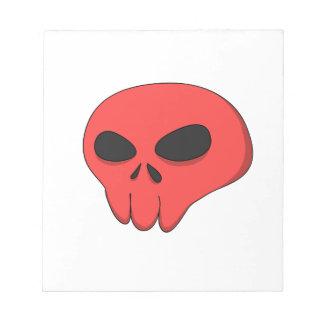 cartoon red skull notepad