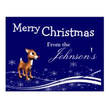 Cartoon Reindeer Christmas Greeting Postcards