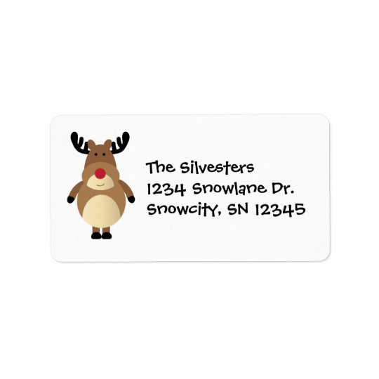 Cartoon Reindeer Holiday Address Avery Label Address Label
