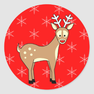 Cartoon Reindeer Holiday Stickers