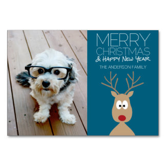 Cartoon Reindeer with Merry Christmas and Photo Card