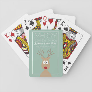 Cartoon Reindeer with Merry Christmas Greeting Playing Cards