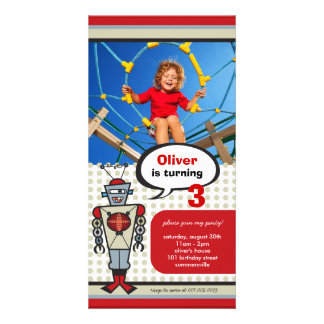Cartoon Retro Robot Cute Kids Boy Birthday Party Customised Photo Card