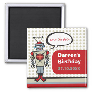 Cartoon Retro Robot Cute Kids Boy Birthday Party Square Magnet