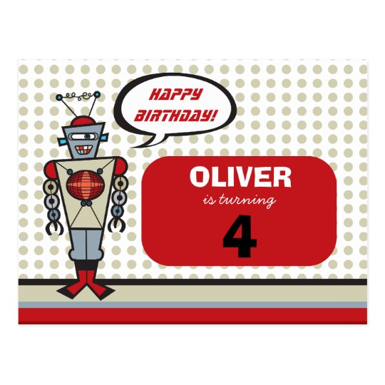 Cartoon Retro Robot Cute Kids Boy Birthday Party