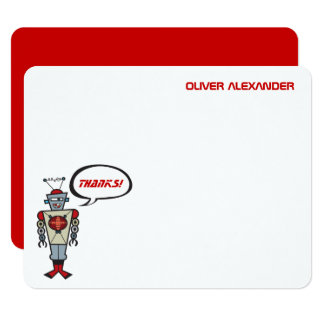 Cartoon Retro Robot Kids Boy Birthday Thank You Card