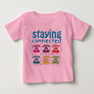 Cartoon Retro Telephones Colorful Funny Connected Baby T-Shirt