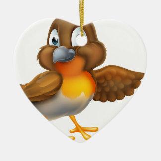 Cartoon Robin Bird Mascot Christmas Ornament