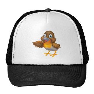 Cartoon Robin Bird Pointing Cap