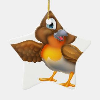 Cartoon Robin Bird Pointing Wing Christmas Ornament