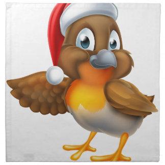 Cartoon Robin in Christmas Santa Hat Napkins