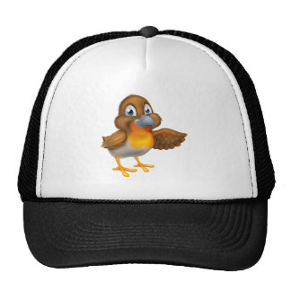 Cartoon Robin Pointing Wing Cap