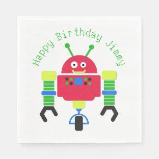 Cartoon Robot Birthday Party Paper Napkins