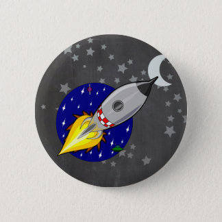 Cartoon Rocket 6 Cm Round Badge