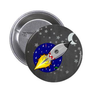Cartoon Rocket 6 Cm Round Badge