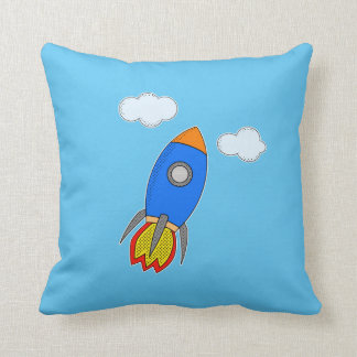 Cartoon Rocket And Clouds Throw Cushion
