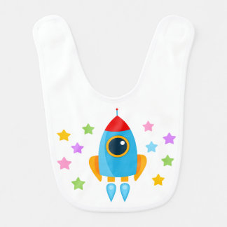 Cartoon Rocket Bib