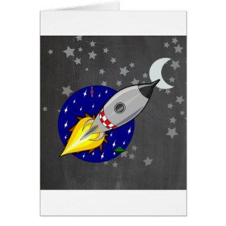 Cartoon Rocket Card