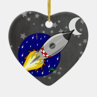 Cartoon Rocket Christmas Ornament