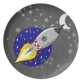 Cartoon Rocket Dinner Plates