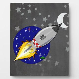 Cartoon Rocket Display Plaques