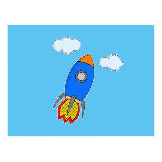 Cartoon Rocket In Blue Sky Postcard
