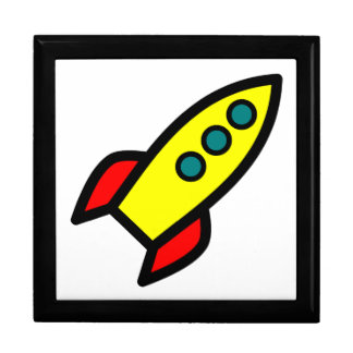 Cartoon Rocket Large Square Gift Box