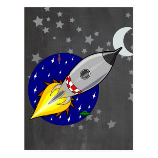 Cartoon Rocket Postcard