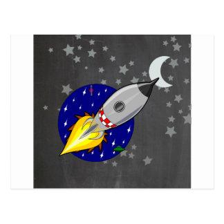 Cartoon Rocket Postcard