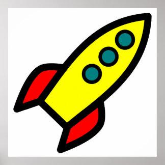 Cartoon Rocket Poster
