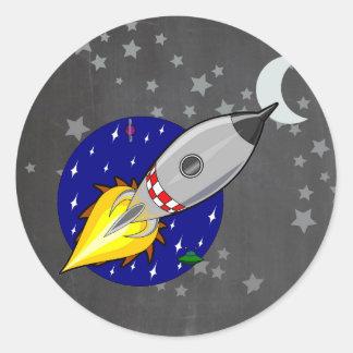 Cartoon Rocket Round Sticker