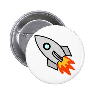 Cartoon Rocket Ship 6 Cm Round Badge