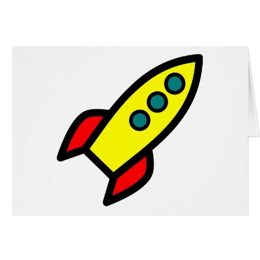 Cartoon Rocket Ship Card