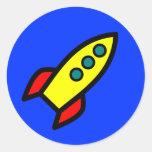 Cartoon Rocket Ship Classic Round Sticker