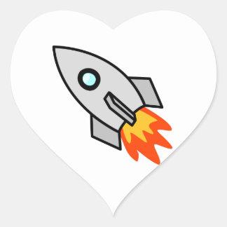 Cartoon Rocket Ship Heart Sticker