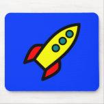 Cartoon Rocket Ship Mouse Pads