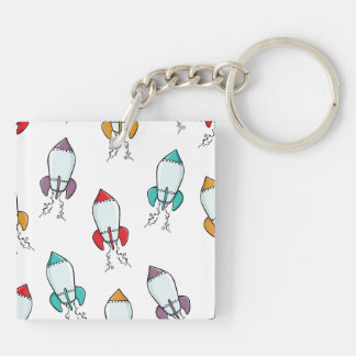 Cartoon Rocket Ship Pattern Key Ring