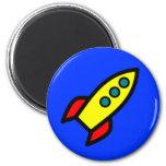 Cartoon Rocket Ship Refrigerator Magnet