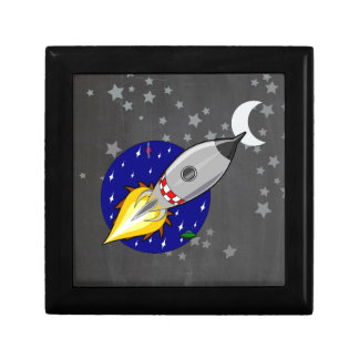 Cartoon Rocket Small Square Gift Box