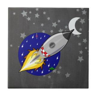 Cartoon Rocket Small Square Tile