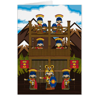 Cartoon Roman Centurion Soldiers at Fort Greeting Card
