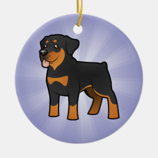 Cartoon Rottweiler (add your own message) Christmas Ornament