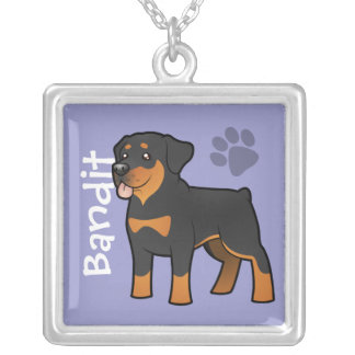 Cartoon Rottweiler (add your pets name) Silver Plated Necklace