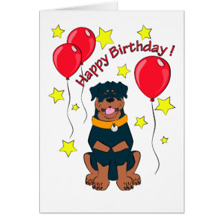 Cartoon rottweiler birthday card